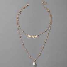 Letter & Faux Pearl Decor Layered Necklace