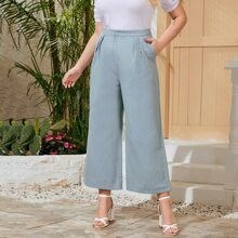 Pantalones de pierna ancha con bolsillo oblicuo - grande