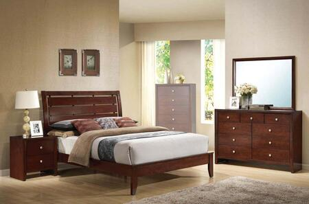 Ilana Collection 20397EK4PCSET 4 PC Bedroom Set with King Size Bed  Dresser  Mirror and Nightstand in Brown Cherry