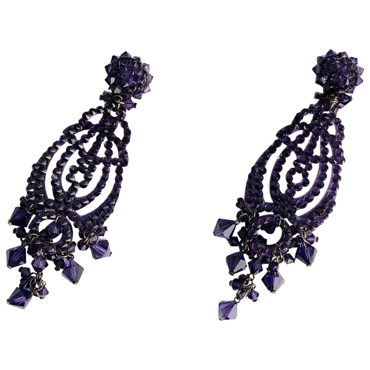 Non Signé / Unsigned \N Purple Crystal Earrings for Women \N