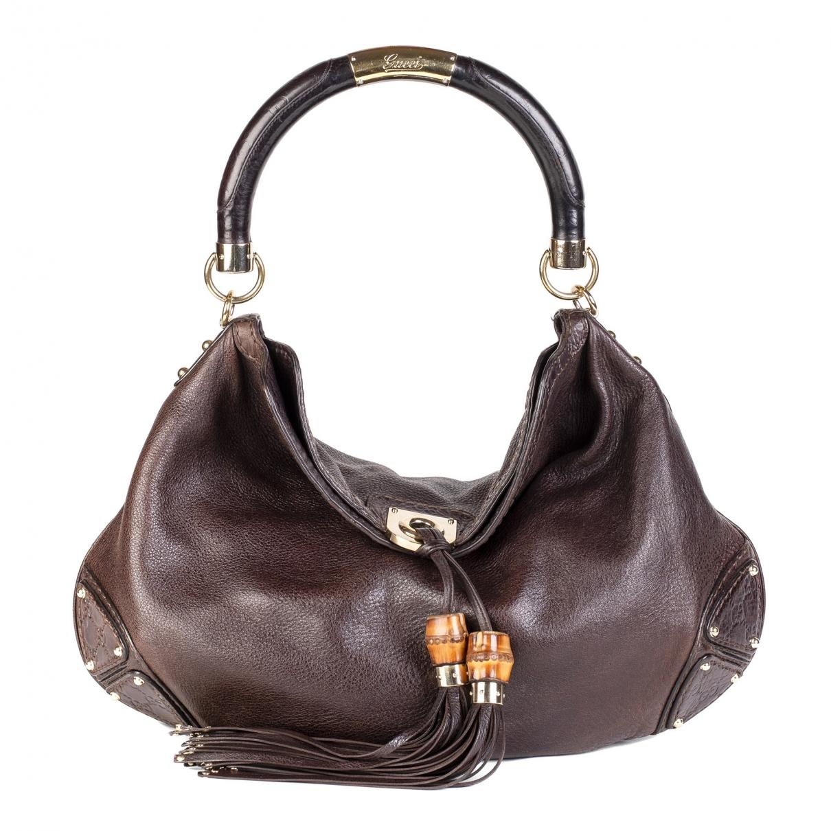 Gucci Indy Handtasche in  Braun Leder