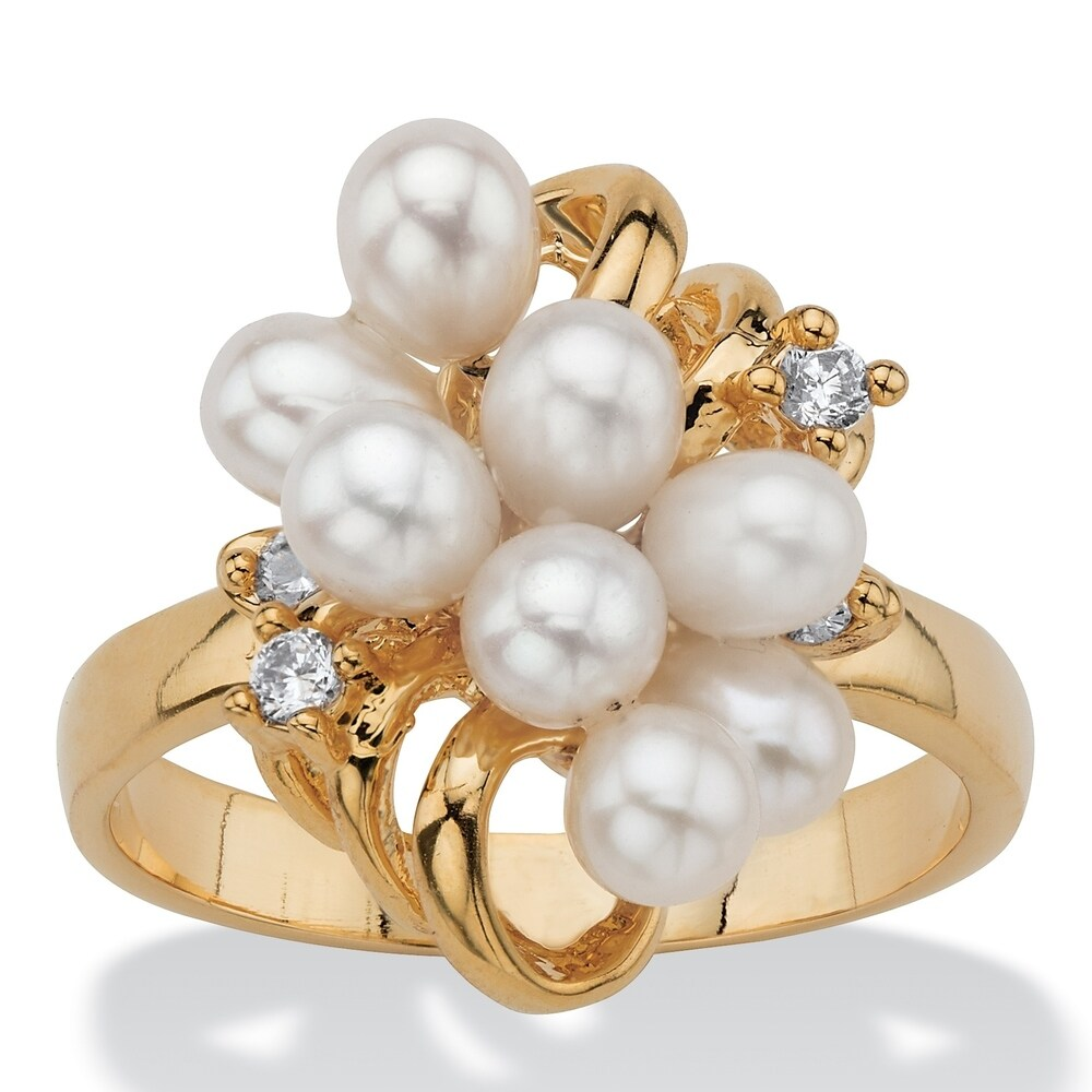 Yellow Gold-Plated Cultured Freshwater Pearl and Crystal Cluster Ring (10)
