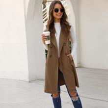 Khaki Taschen  Einfarbig Elegant Oberbekleidung