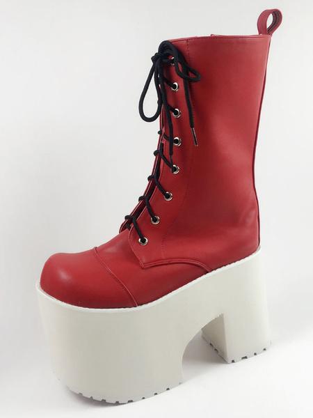 Milanoo Botas rojas Lolita punta redonda talon grueso encaje hasta ojales PU Lolita zapatos