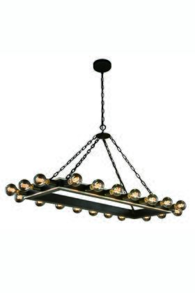 1501G50VBSL Winston Collection Pendant Lamp L:50 W:21 H:24 Lt:20 Silver Leaf & Vintage Bronze