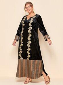 Plus Floral Embroidery Notch Neck Velvet Dress