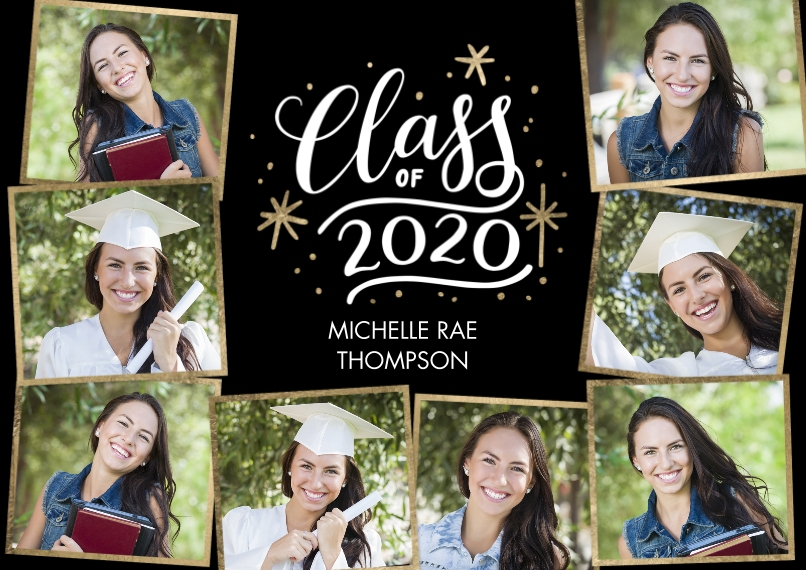 2020 Graduation Announcements 5x7 Cards, Standard Cardstock 85lb, Card & Stationery -2020 Class of Gold Stars by Tumbalina