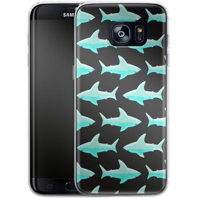 Samsung Galaxy S7 Edge Silikon Handyhuelle - Neon Sharks von caseable Designs
