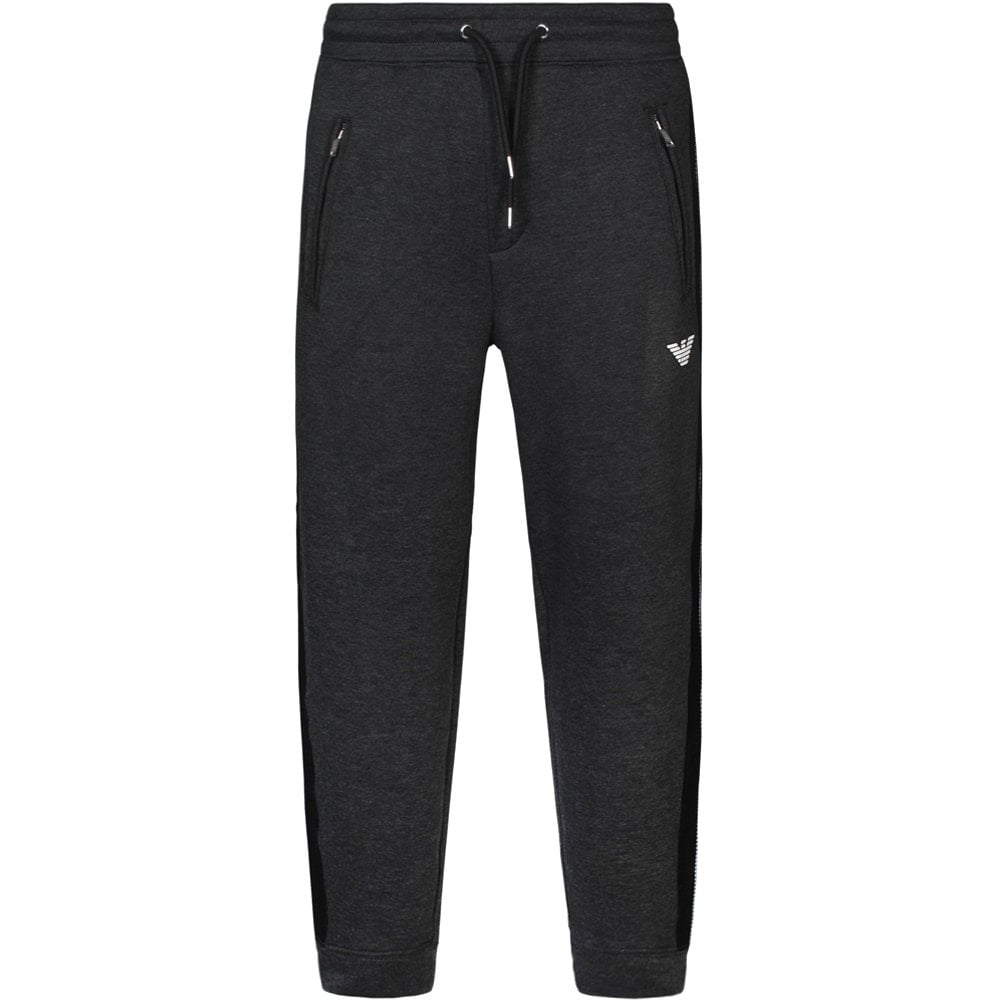 Emporio Armani Panelled Joggers Grey Colour: GREY, Size: SMALL