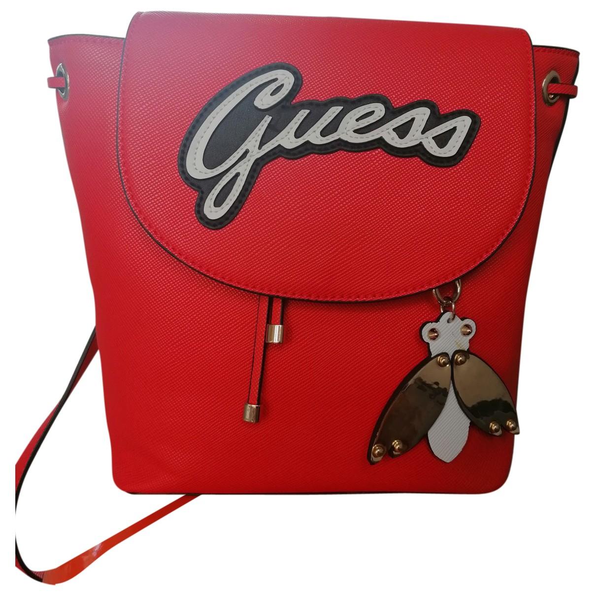 Guess \N Rucksaecke in  Rot Leder