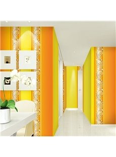 Orange and Yellow Background with Flowers 3D Waterproof Wall Mural