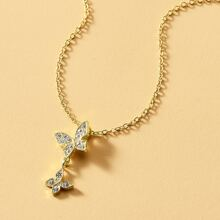 Rhinestone Inlaid Butterfly Pendant Necklace