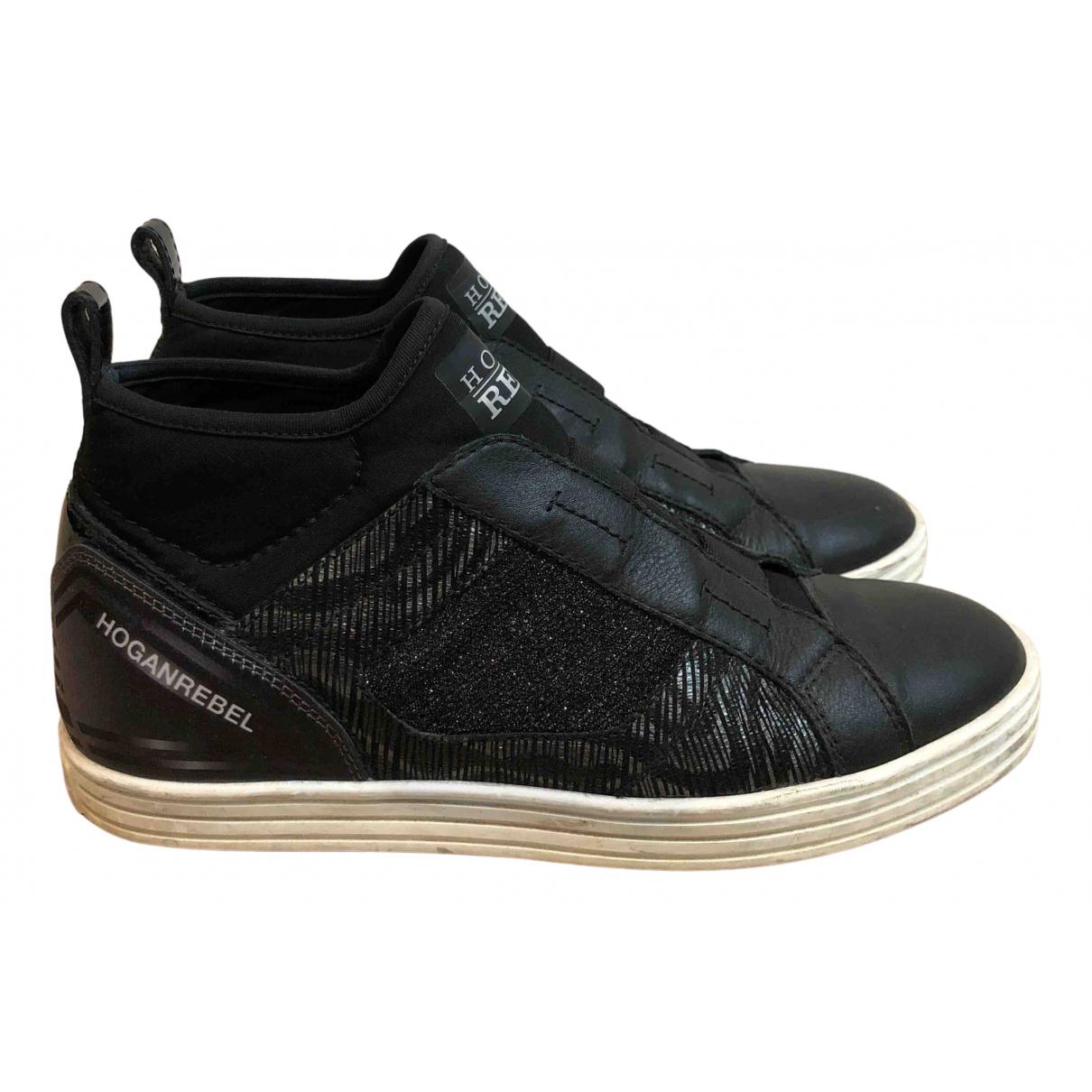 Hogan - Baskets   pour femme en toile - noir