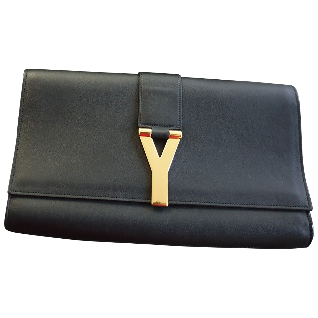 Saint Laurent Chyc Clutch in  Schwarz Leder