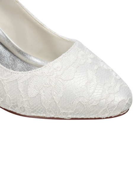 Milanoo Vintage Wedding Shoes Ivory Round Toe Mary Jane Shoes Lace Bridal Shoes