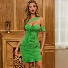 Sesidy Bustier Bandage Kleid mit einer Schulter und Ruesche
