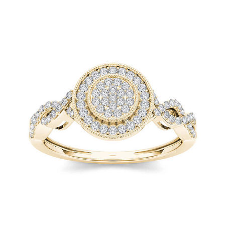 1/5 CT. T.W. Diamond 10K Yellow Gold Cluster Engagement Ring, 7 , No Color Family