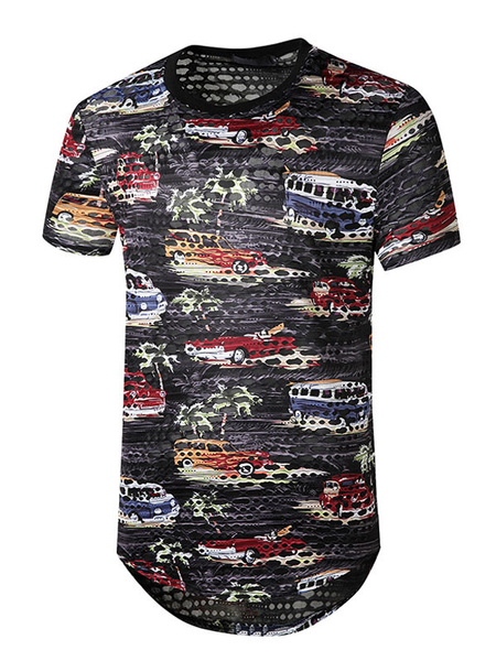 Milanoo T Shirts Casual Jewel Neck Short Sleeves Tee