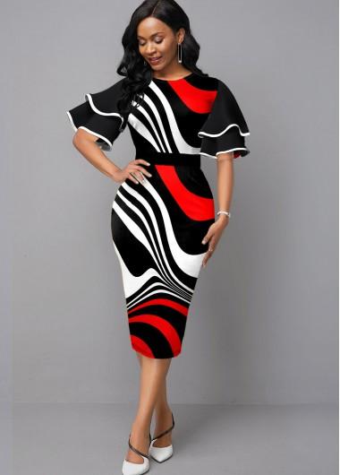 Red Dresses Ruffle Sleeve Stripe Print Contrast Sheath Dress - S