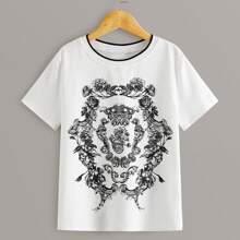 Jungen T-Shirt mit Kontrast Saum und Stamm Muster