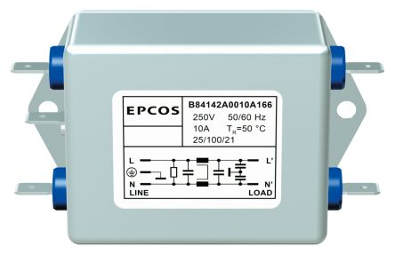EPCOS , B84142-A 30A 250 V ac 60Hz, Flange Mount RFI Filter, Screw, Single Phase