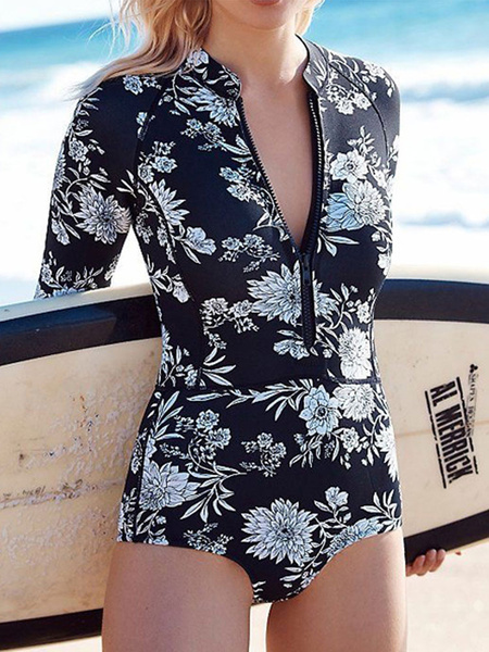Milanoo One Piece Wetsuit Swimsuit Women\'s Print Long Sleeve Board Swimwear Beach Bathing Suit