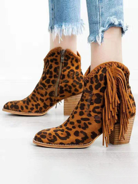 Milanoo Women Ankle Boots Suede Leather Round Toe Leopard Print Chunky Heel Cowgirl Boots