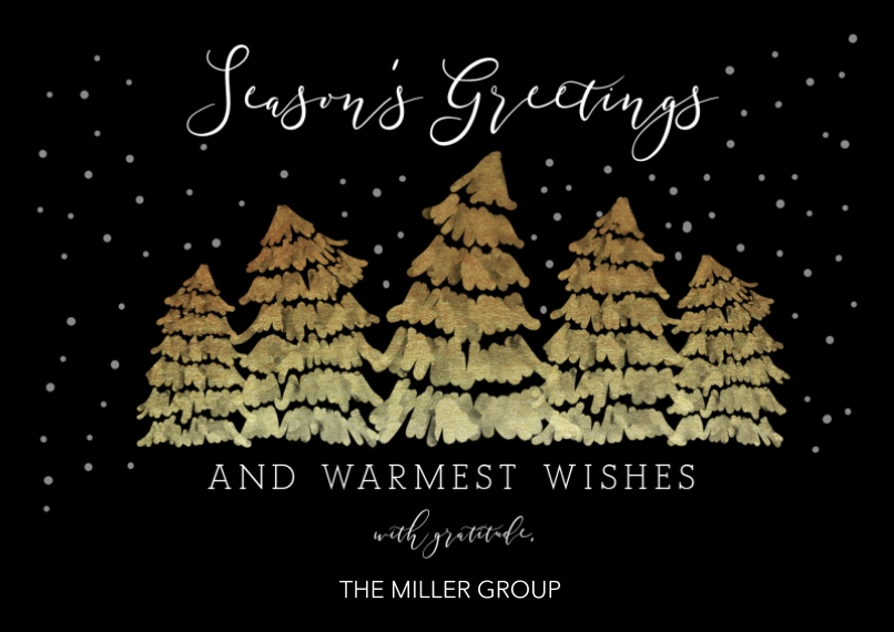 Seasonal Flat Business Greeting Cards, Business Printing -Brilliant Trees
