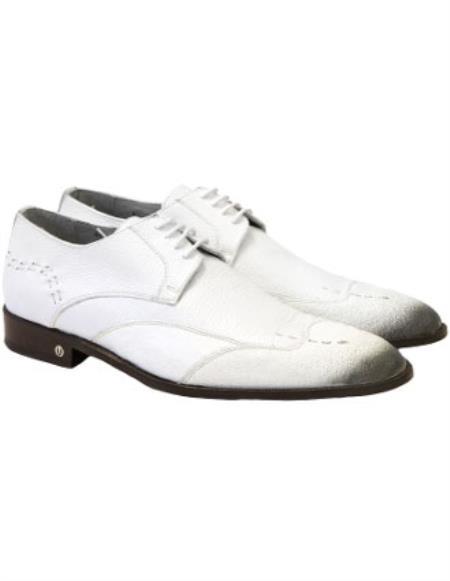 Men's Faded White Vestigium Genuine Catshark Derby Shoes