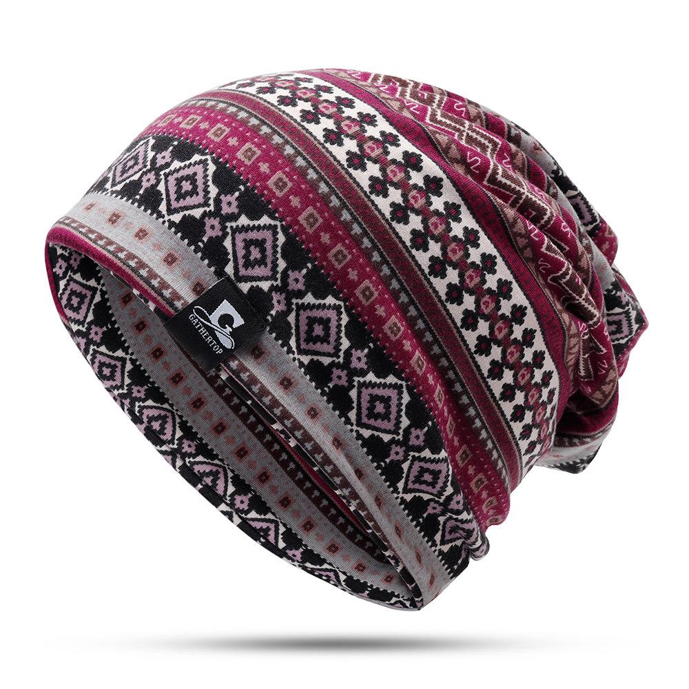 Women Printed Useful Twist Beanie Hat Outdoor Casual Hedging Cap Warm Windproof Hat