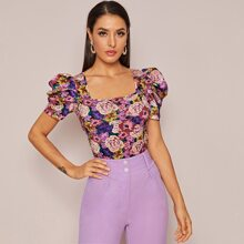 Square Neck Puff Sleeve Floral Print Top