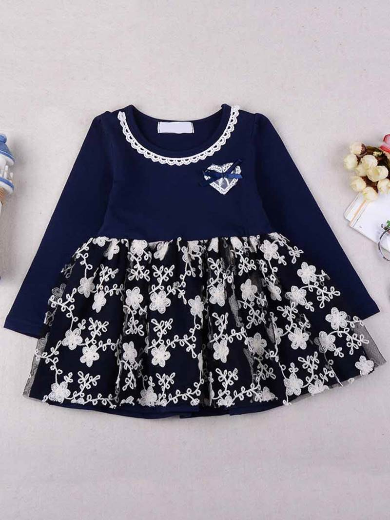 Ericdress Lace Floral Patchwork Long Sleeve Girls Dress
