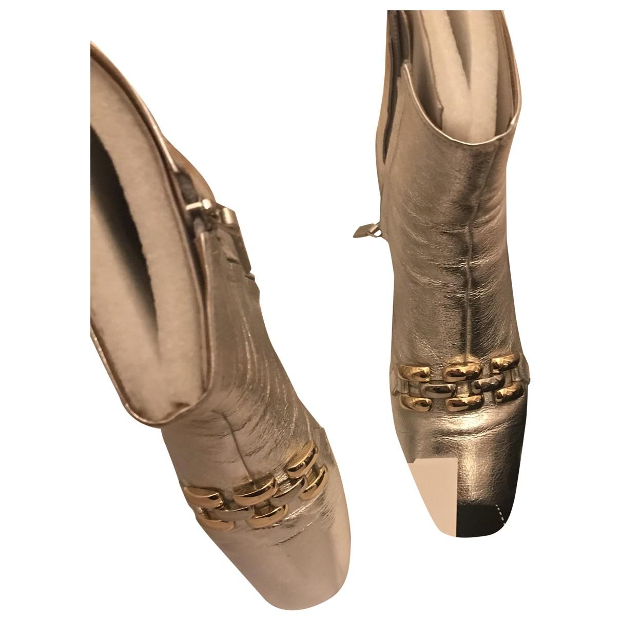 Marc Jacobs - Boots   pour femme en cuir - argente