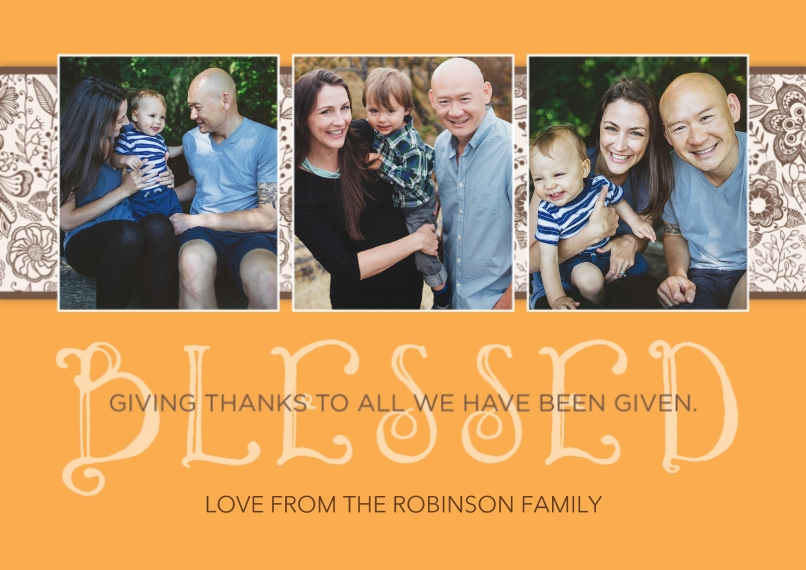 Thanksgiving Photo Cards 5x7 Cards, Premium Cardstock 120lb with Rounded Corners, Card & Stationery -Blessed Thankgiving