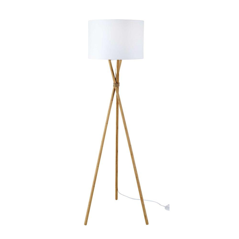 Dreifuss-Stehlampe aus Bambus mit weissem Lampenschirm H154