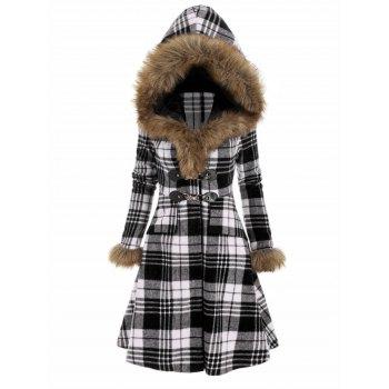 Plaid Faux Fur Hood Longline Coat