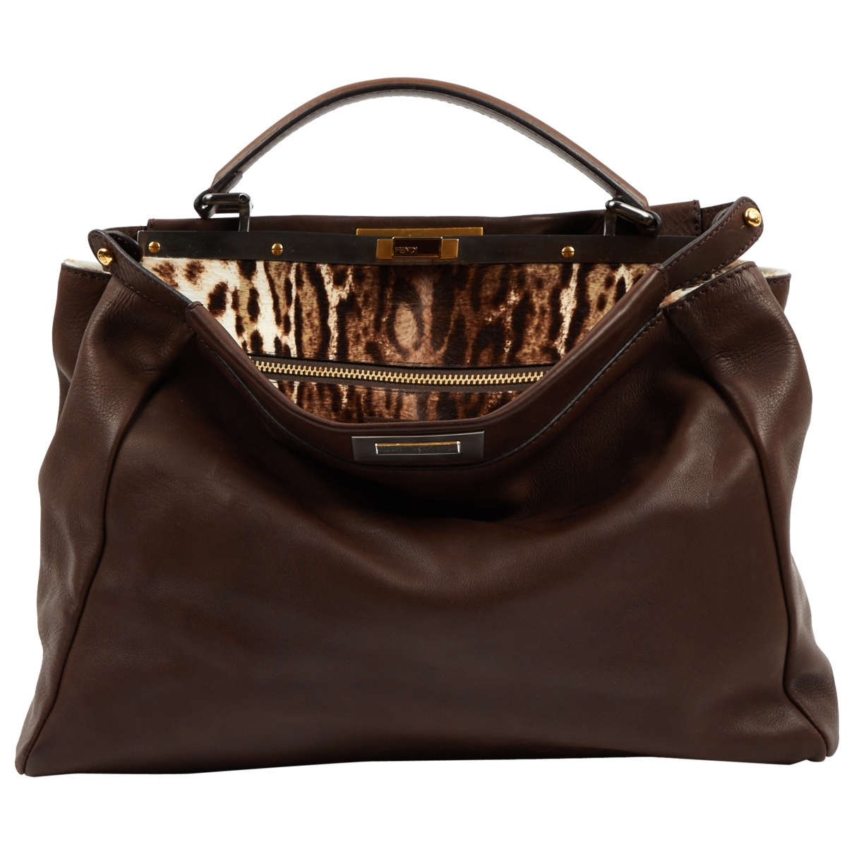 Fendi Peekaboo Handtasche in  Braun Leder