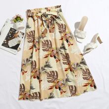 Tropical Print Belted Skirt