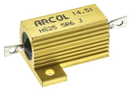 Arcol HS25 Series Aluminium Housed Axial Wire Wound Panel Mount Resistor, 5.6Ω ±5% 25W