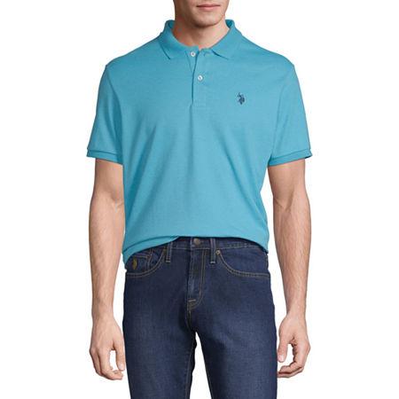 U.S. Polo Assn. Short-Sleeve Solid Interlock Polo, Large , Blue