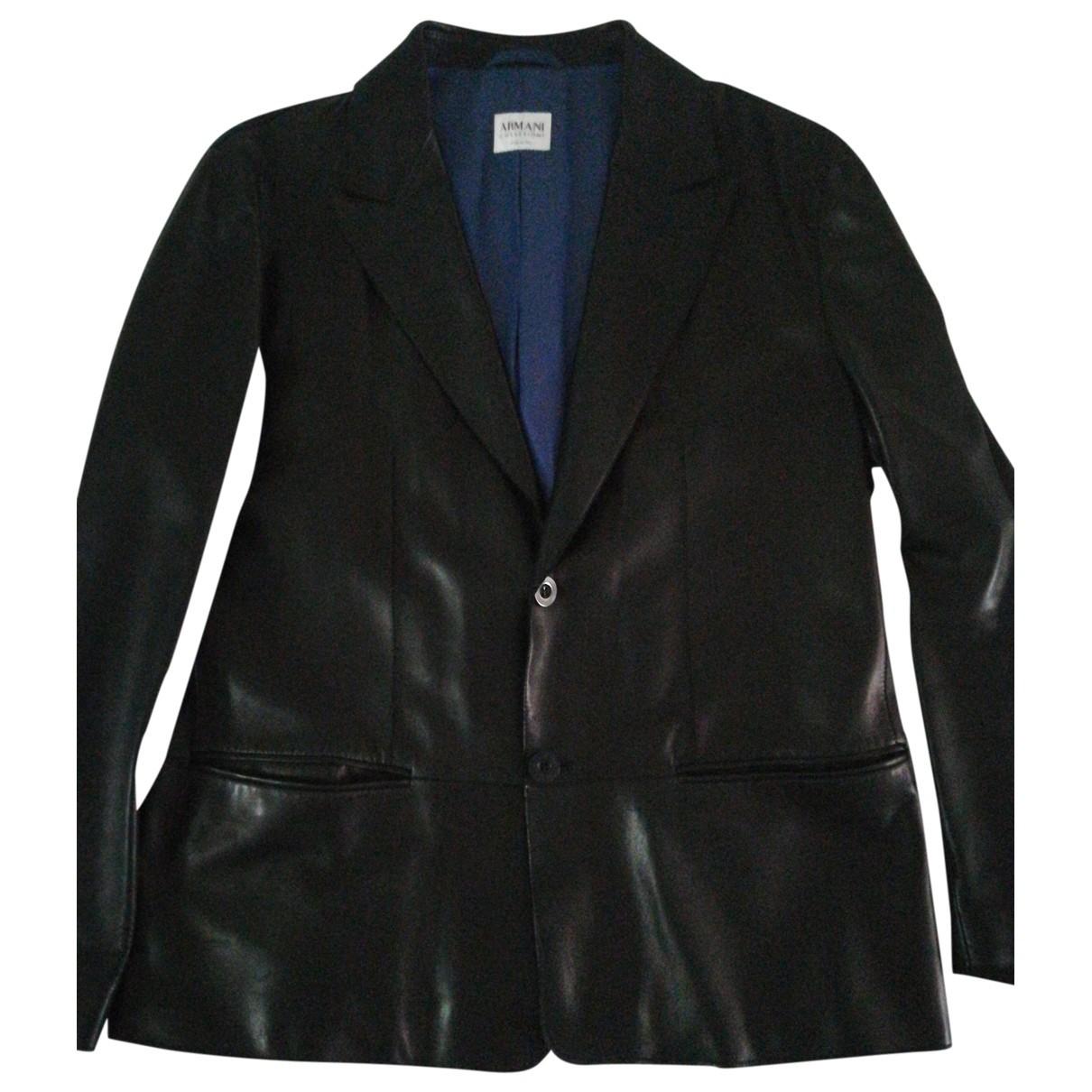 Armani Collezioni \N Black Leather jacket  for Men XXS International