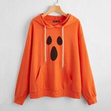 Hoodie mit Kaenguru Taschen, Kordelzug und Halloween Muster