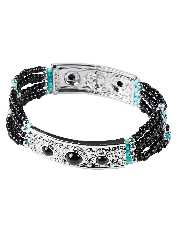 Kostuemzubehor Armband mit Steinen schwarz