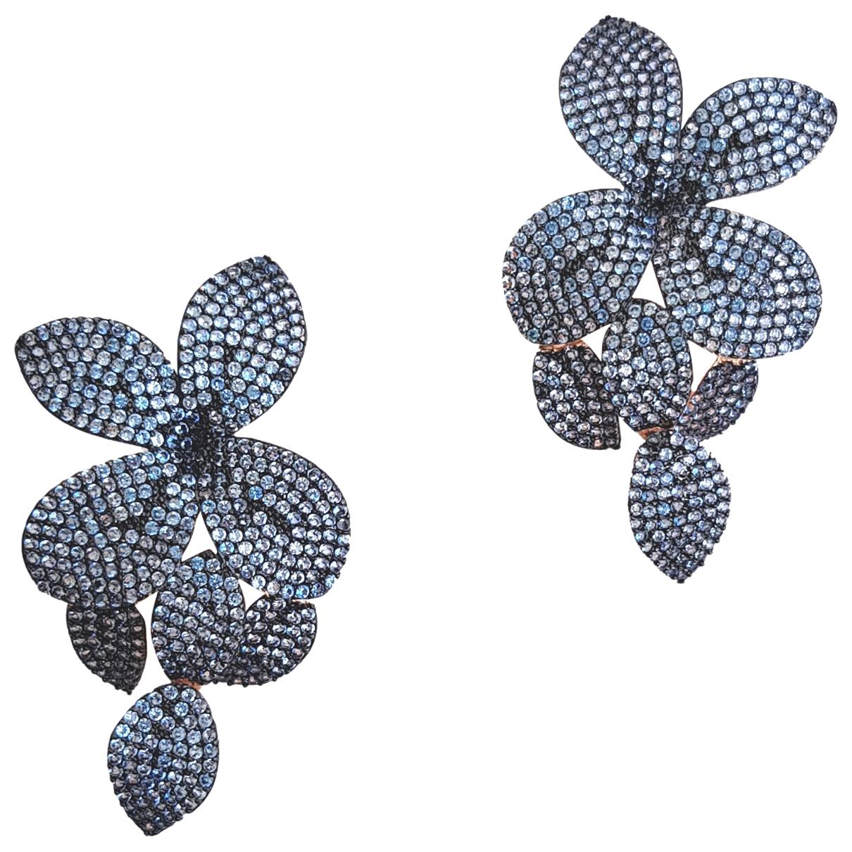 Non Signe / Unsigned Motifs Floraux OhrRing in  Blau Metall