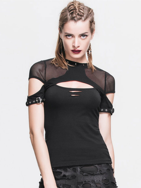 Milanoo Gothic Top Halloween Costume Women Black Cut Out Lace Up Punk Rave T Shirt