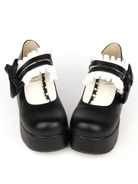 Milanoo Sweet Lolita Shoes White Platform Ruffle Double Strap Lovely Lolita Shoes With Bow