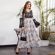 Kleid mit Kontrast Spitzen Detail und Blumen Muster