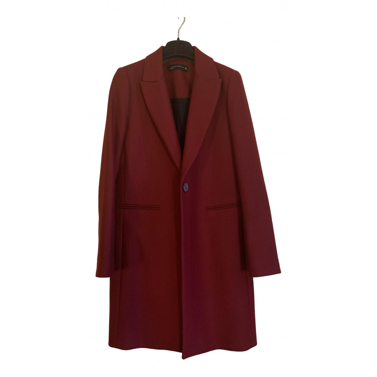 Zara - Manteau   pour femme en laine - rouge