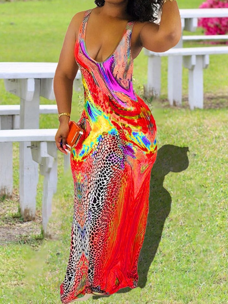 Ericdress Print Floor-Length Sleeveless Bodycon Pullover Dress