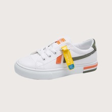 Colorblock Lace-up Canvas Sneakers